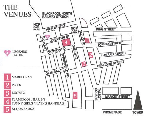 Location map for Legends Hotel showing the hotel's position with regards to some of Blackpool's gay venues